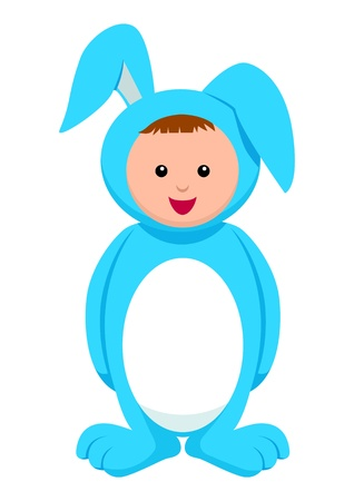 Kid with rabbit costume Vector
