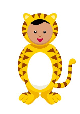 Kid with tiger costume Stock Vector - 9504557