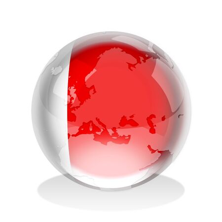 dubai flag: Crystal sphere of Emirate of Dubai flag with world map  Stock Photo