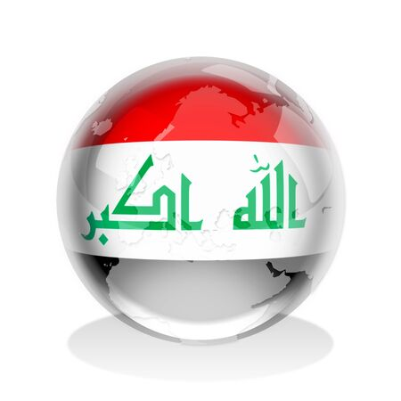Crystal sphere of Iraq flag with world map  photo