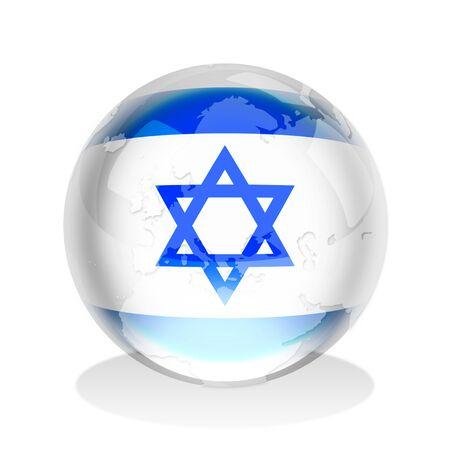 israeli: Esfera de cristal de la bandera de Israel con el mapa mundial Foto de archivo