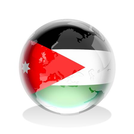the hashemite kingdom of jordan: Crystal sphere of Jordan flag with world map  Stock Photo