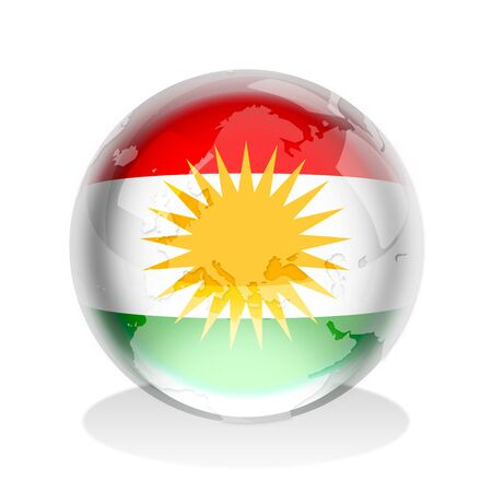 Crystal sphere of Kurdistan flag with world map  photo