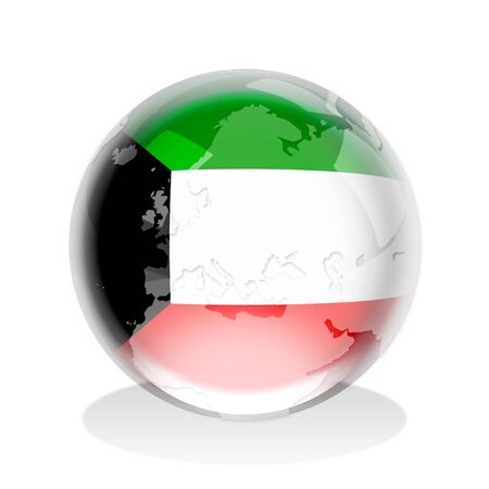 Crystal sphere of Kuwait flag with world map photo