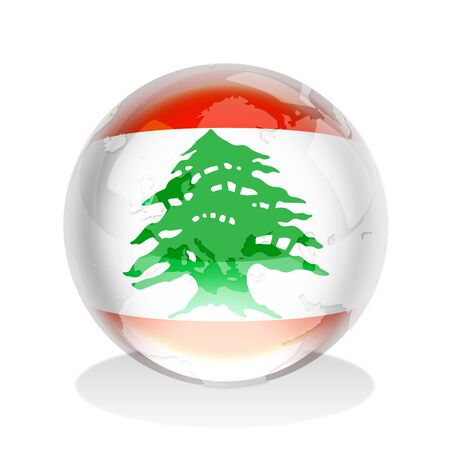 lebanon: Crystal sphere of Lebanon flag with world map