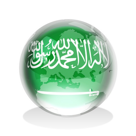 Crystal sphere of Saudi Arabia flag with world map  photo