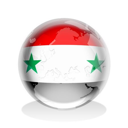 syria: Crystal sphere of Syria flag with world map