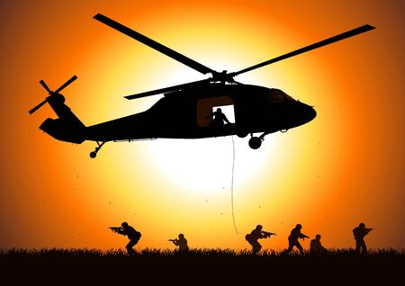 defense equipment: helicopter is dropping the troop