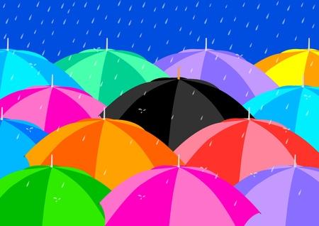 raining background: Black Umbrella among Colourful Umbrellas  Illustration