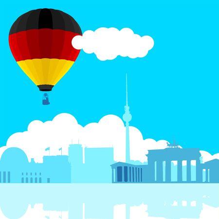 bandera alemania: Una ilustraci�n del horizonte de Berl�n con la bandera de Alemania de globo de aire