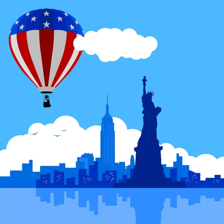 An illustration of New York City skyline with USA flag air balloon  Illustration
