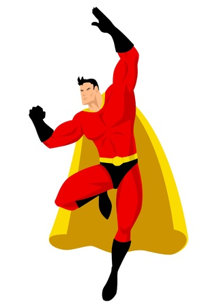 muscly: Superhero in flying pose  Illustration