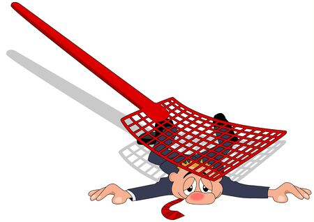 A businessman flattened by fly swatter