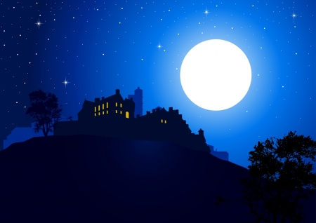 A castle at the mountain with full moon as the background Stock Vector - 9599952