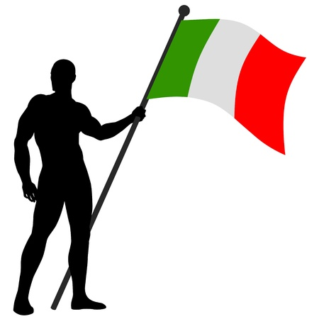 nationalist: illustration of a flag bearer