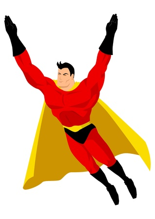 Superhero in flying pose