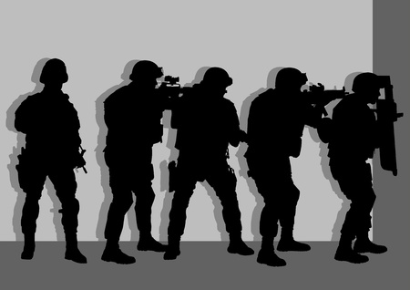 guard duty: illustration of anti terror armed forces