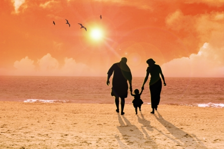 Family at the beach photo