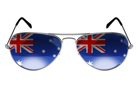 sunglasses reflection: Sunglasses with the flag of Australia as the reflection