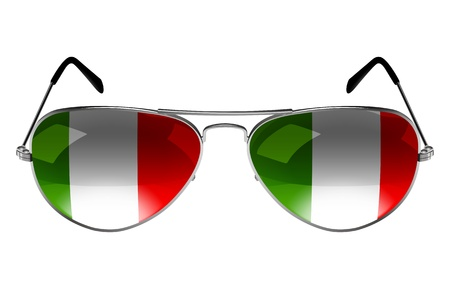sunglasses reflection: Sunglasses with the flag of Italy as the reflection Stock Photo