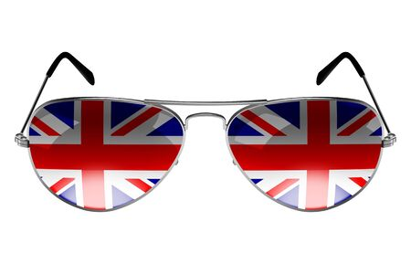 Sunglasses with the flag of United Kingdom as the reflection photo