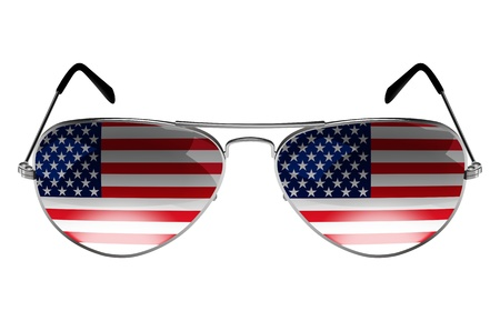 sunglasses reflection: Sunglasses with the flag of USA as the reflection Stock Photo