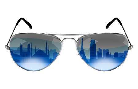 sunglasses reflection: Sunglasses with the reflection of Europe landmarks and monuments