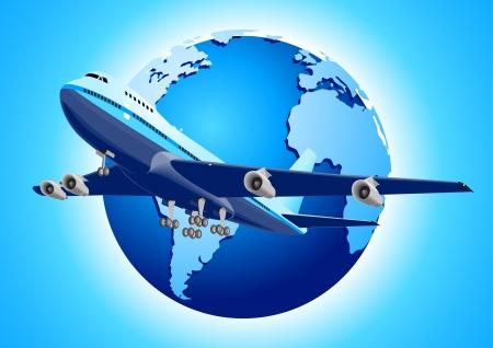 飛行機および地球の図