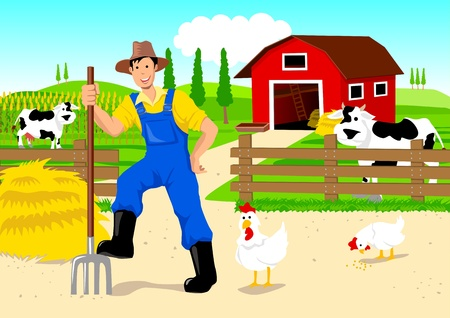 Farmer in Cartoon Stock Vector - 9880270