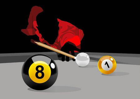 Illustration of a man playing pool Vector