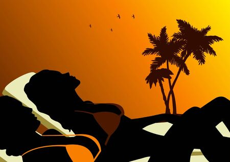 sonnenbaden: Illustration von zwei Frauen Sonnenbaden