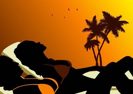 sun tan: Ilustraci�n de dos mujeres tomando el sol
