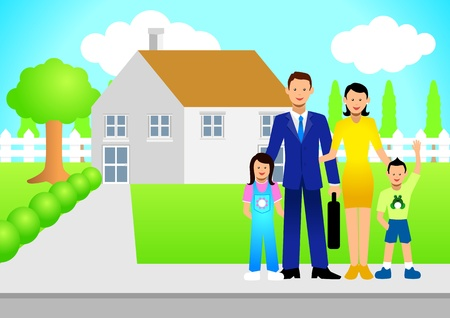 Illustration of a family in front of the house Stock Vector - 9880266