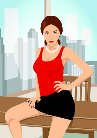Vector illustration of a woman sitting on a table Vector