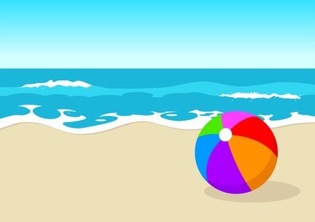 seacoast: Ball at the beach Illustration