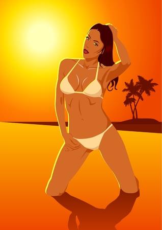 maillot de bain: Vector illustration d'une femme en bikini à la plage