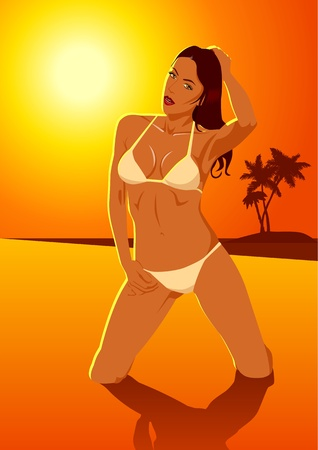 Vector illustration of a woman in bikini at the beach