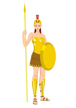 Athena the goddess of wisdom, civilization, warfare, strength, strategy, female arts, crafts, justice and skill Vector