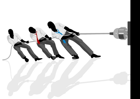 analogy: Vector illustration of men pulling the plug