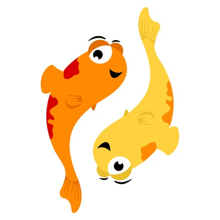 Vector illustration of Pisces in cartoon style