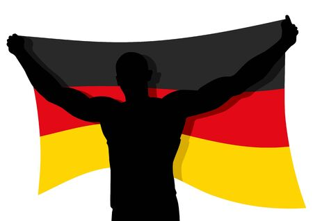 Vector illustration of a man figure carrying the flag of Germany Vector