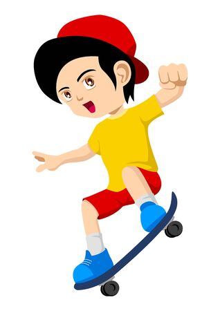 Cartoon illustration of a kid playing skateboard Vector