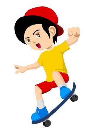 Ilustración animada de un niño jugando skateboard