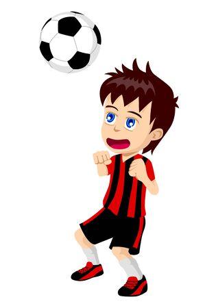 pelota caricatura: Ilustración de la caricatura de un niño jugando al fútbol