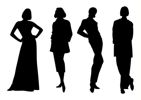 feminism: illustration of women silhouette