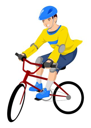 Vector illustration of a boy riding a bicycle Vector