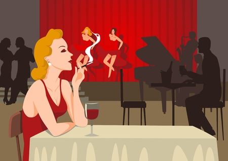alone person: A single lady smoking at sixties nightclub