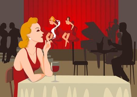 smoking a cigarette: A single lady smoking at sixties nightclub