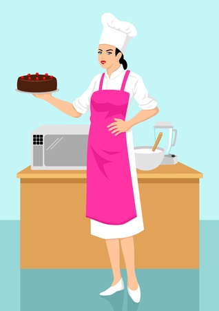 Vector illustration of a chef holding a chocolate cake Vector