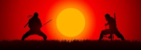 katana: Silhouet illustratie van twee ninjas in duel Stock Illustratie